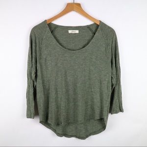 Madewell hunter olive green 3/4 sleeve cropped top